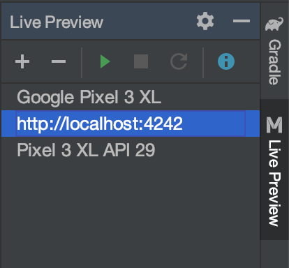 MobileUI Live Preview tool window in Android Studio