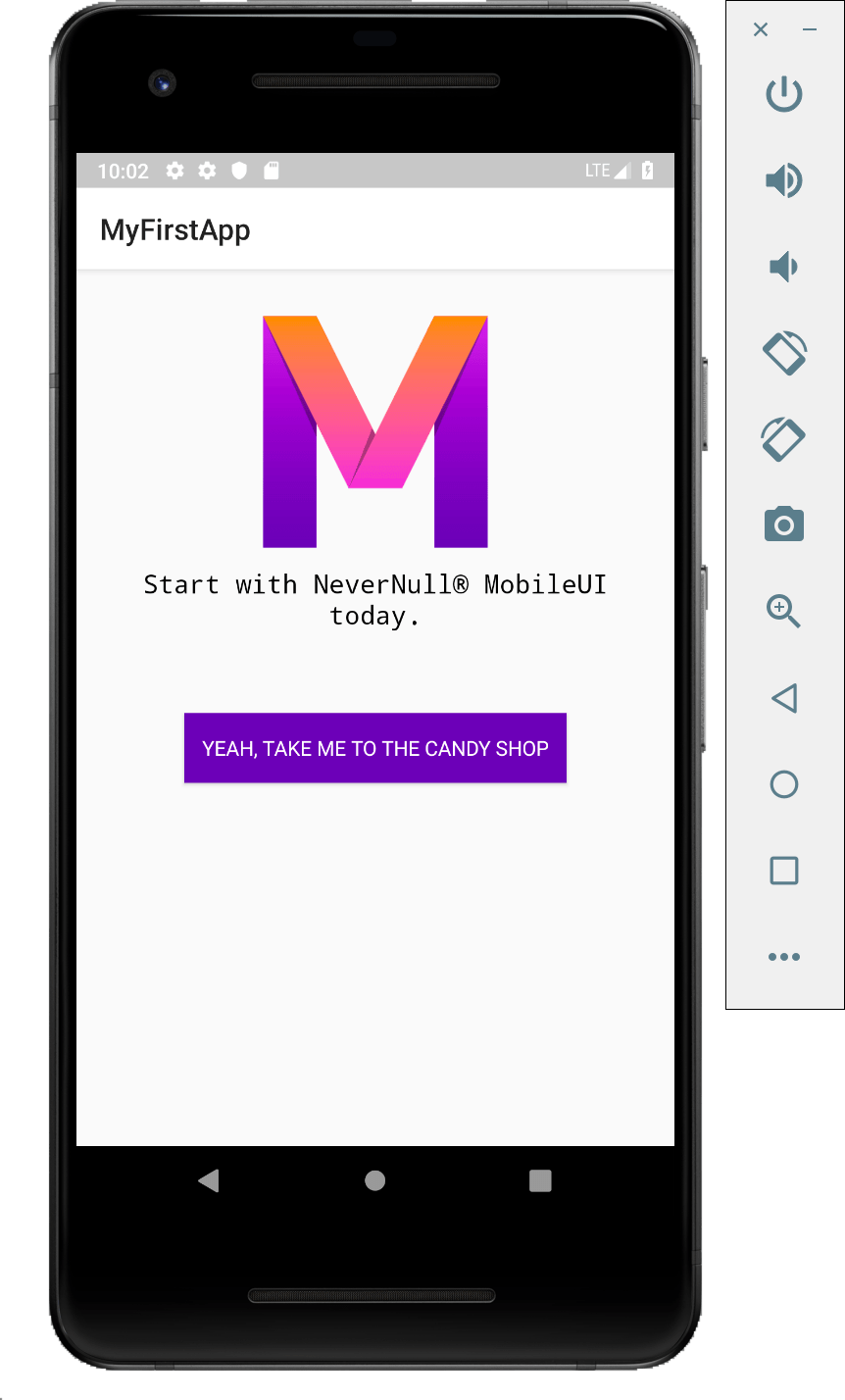 Android emulator with MobileUI app